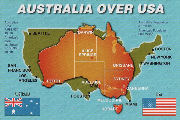 Infographic: Australia overlayed onto USA - size comparison