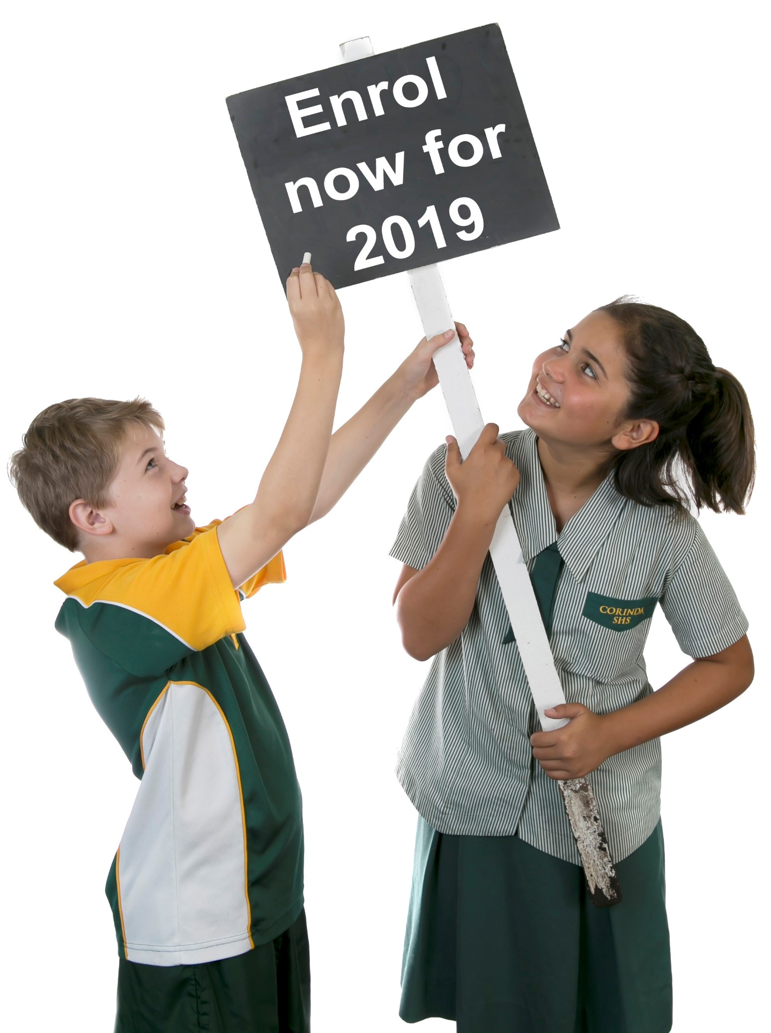 Students holding sign 'Enrol now for 2019'